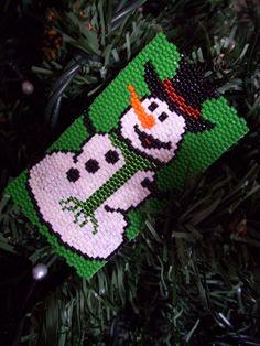 snowman peyote   XMAS SNOWMAN - Decorative Tag by Debger Designs