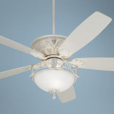 """60"""" Casa Vieja Montego Rubbed White Ceiling Fan with Light  Upper master has taken a turn for the traditional direction."""