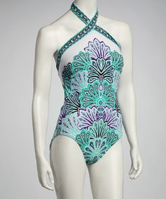 Take a look at this Cool Mosaic Plumes Halter One-Piece by Jantzen on #zulily today!