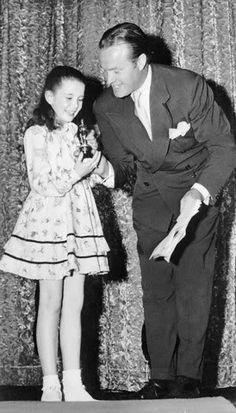 "Margaret O""Brien receiving an honorary Oscar from Bob Hope."