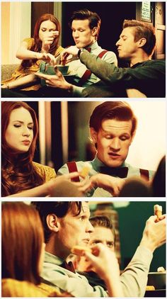 Fish Fingers and Custard night at the Ponds' house. <3