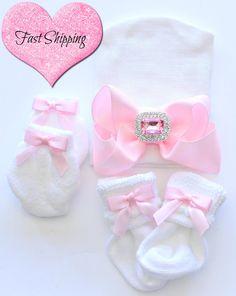 Newborn Hospital Beanie.Newborn mittens . Baby by GlammazingLLC