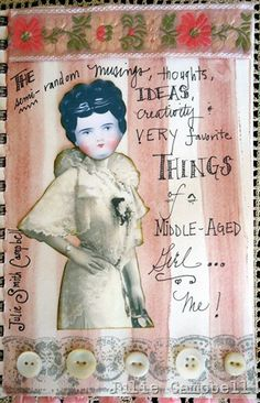 title page...I LOVE using vintage German doll heads!