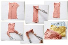 Here's the basic KonMari vertical fold, which can be applied to everything from T-shirts to stockings. First, make a long rectangle, and then fold from the bottom up into a little package. Plier T Shirt, Konmari Methode, Sparks Joy, Marie Kondo, Tidy Up, Love Home, Closet Organization, Organization Ideas, Closet Hacks