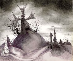 Tim Burton is now at the MoMA in a special exhibition including his films AND drawing. Who's ready for some sweet illustrations by more than just a film maker. Stop Motion, Illustration, Moma, Image, Disney Art, Artwork, Dark Art, Landscape Drawings, Tim Burton Artwork