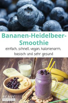 Bananen-Heidelbeer-Smoothie - Hints for Women Smoothie Fruit, Blueberry Banana Smoothie, Smoothie Recipes, Natural Vitamins, Cafe Food, Snacks, Crunches, Calories, Eating Plans