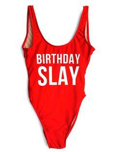 64d54e1545b60 BIRTHDAY SLAY One-Piece Slogan Swimsuit Birthday Swimsuit