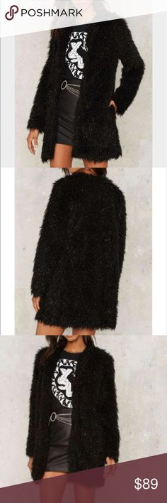Nasty Gal Women's Black Dark Magic Faux Fur Coat he Dark Magic Coat features a faux fur shell, shimmer detail, and oversized Nasty Gal Jackets & Coats