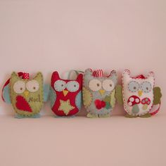 Christmas ornaments owls green blure red white by Roxy Creations, via Flickr