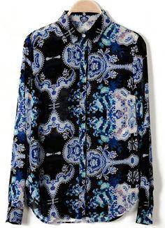 Black Lapel Long Sleeve Floral Chiffon Blouse US$25.11