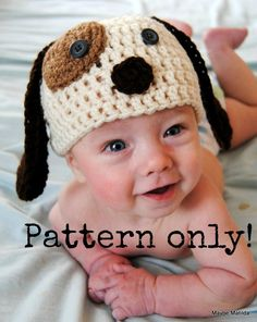 PDF Pattern for Baby and Child Puppy Dog Crochet Hat with Permission to Sell What You Make $4.99