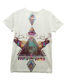 Triangle and David's Deer Print T-shirt with Round Neckline