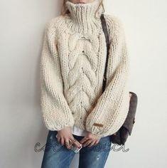 ニット・セーター 柔らかで暖かい♥ケーブル編みざっくりニット♪