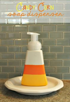 Halloween Decorations: Candy Corn Soap Dispenser