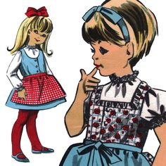 Vintage c. 1960s German Brigitte ULLSTEIN Schnitt Sewing Pattern U 6897 Girl's Dress with Apron, Size 3, 5, 7 Uncut with Factory Folds by karl79 on Etsy