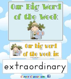 Big Word of the Week - Reading Strategy Approach  Revised (July, 2012) to include Zaner-Blosser font and cover page, as well as ideas page.    15 pages with a total of 39 big words, designed by Clever Classroom.     ***The file includes a cover page and word strips ONLY. $
