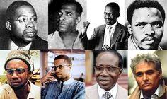(L-R: Aime Cesaire, Frantz Fanon, Robert Sobukwe, Steve Biko, Amílcar Cabral, Malcolm X, Léopold Senghor, Jacques Derrida)
