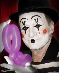 'Celebrity Mimes - Open photoshop contest is now closed. Halloween Wings, Fall Halloween, Halloween Crafts, Halloween Makeup, Halloween Face, Halloween Costumes, Scary Clown Mask, Le Clown, Clown Faces