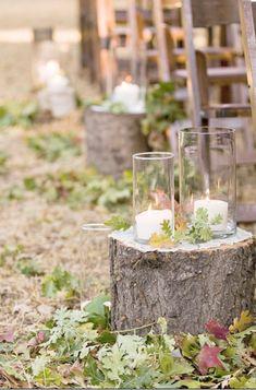 tocón de árbol caer las ideas de la boda de pasillo rústico
