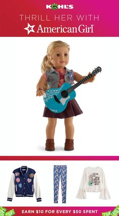Treat your American girl to an American Girl® doll for the holidays. You'll earn Kohl's Cash, and she'll have a new friend to take on all her adventures. You'll also find trendy girls' clothes, inspired by American Girl® Tenney Grant, like patched varsity jackets, floral leggings and glittery graphic tees with bell sleeves. Shop dolls, accessories and clothing at Kohl's. ©/TM 2017 American Girl