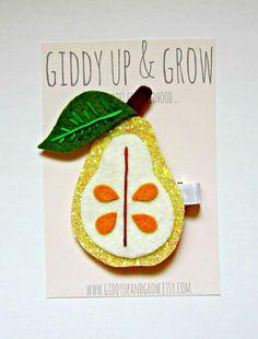 Felt Hair Clips - Glitter Pear Hair Clip, Giddy Up and Grow Summer Accessories