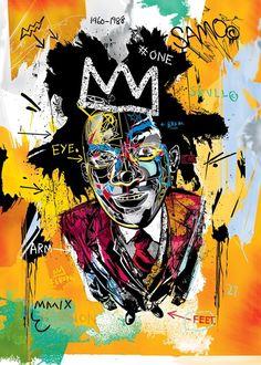 Basquiat by Dai-Dai Tran, Parisian vector artist Basquiat Artist, Jean Basquiat, Jean Michel Basquiat Art, Basquiat Paintings, Outsider Art, Art Andy Warhol, Pop Art, Graffiti, Tachisme