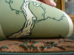 Hanami - linocut by nikosan.artwork, via Flickr