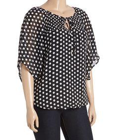 Love this Black & White Polka Dot Tie-Neck Top - Plus on #zulily…