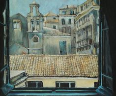 """Oil Painting. """"Rooftops in Corfu"""" Window view. Oil on Canvas 50 x 60 cm. Framed. Art and Collectibles. Fine Art. Contemporary Art. Greece by NarimCrafts on Etsy"""