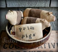 Handmade Art Fair: Primitive Three Little Pigs Bowl Fillers by Paxton Valley Folk Art.  Available on Etsy: www.etsy.com/...