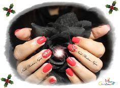 Unhas em Gel em cor pink/Red com nail art tema Flocos