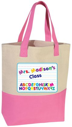 "Personalized Teacher Tote      Tote Color Shown: Pink with Multicolor Design  Font Color: Multicolor  Dimensions: 15"" (w) x 15"" (h) x 4."