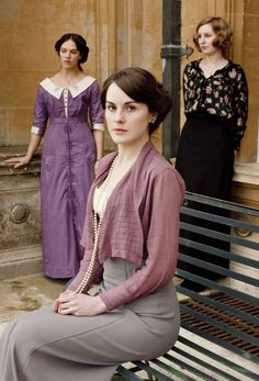 Jessica Brown Findlay, Michelle Dockery and Laura Carmichael as the Crawley sisters in Downton Abbey (2010).
