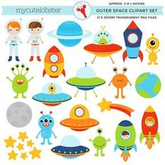 Outer Space Clipart Set clip art of by mycutelobsterdesigns