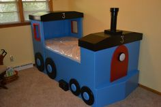 Thomas the Train bed my hubby made for Teegan's 3rd birthday. He LOVES it!!! Boys room design