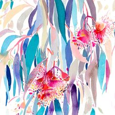 """""""Cascade"""" is a fine art limited edition print on beautiful textured paper by Natalie Martin. Australian Native Flowers, Australian Art, Watercolor And Ink, Watercolor Illustration, Wall Art Prints, Fine Art Prints, Art Books For Kids, Natalie Martin, Alcohol Ink Art"""