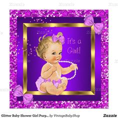 Glitter Baby Shower Girl Purple Pink Blonde Invitation