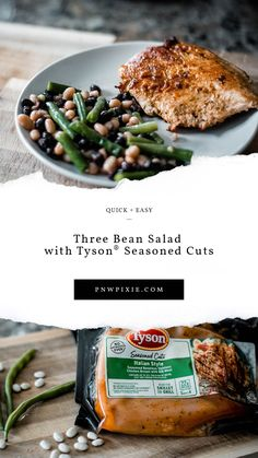 #ad This three bean salad along with  Tyson® Seasoned Cuts is perfect for night when you need something easy to throw together. @tysonfoods  #Tyson #FreshShortcuts #MealtimeShortcuts #TysonFreshShortcuts #CollectiveBias