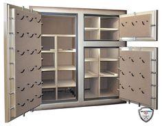 Custom Triple Door Monster Safe interior with L.E.D. Lighting & Pistol Pro Door Backs by Vault Pro USA