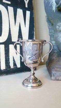 Vintage French Trophy Cup Silverplate Humming by edithandevelyn