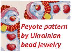 Christmas Snowman pattern peyote bracelet winter love red heart diy jewelry gifts bracelet tutorial even count lovely snowman by UkrainianBeadJewelry on Etsy