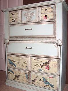 DIY. Nice dresser with birds on drawers. Decoupage.