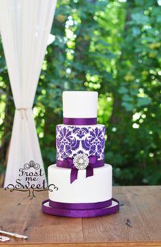 purple damask rhinestone white wedding cake by Frost Me Sweet
