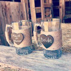 Bride and Groom Beer Mugs Rustic Wedding by DownInTheBoondocks