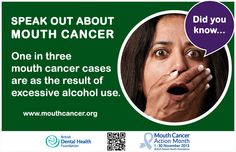 Mouth cancer Action Month - Did you know? One in three mouth cancer cases are as the result of excessive alcohol use. http://www.mouthcancer.org/page/risk-factors #MCAM #RiskFactors #DidYouKnow