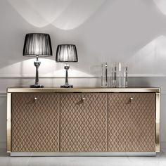 Designer Bronze Mirrored Glass Sideboard