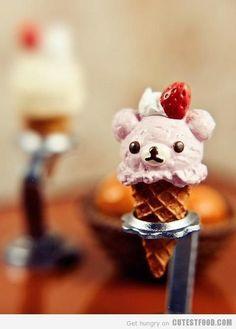Rilakkuma will melt my heart eventually, kinda like this ice cream cone! Gelato, Rilakkuma, Desserts Japonais, Yummy Treats, Sweet Treats, Cute Desserts, Delicious Desserts, Ice Cream Party, Food Humor