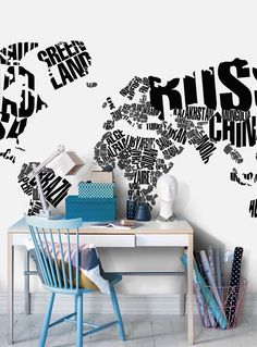 Vit typografisk världskarta Tapet