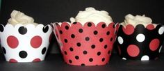Too cute red & black polka dot cupcake wrappers for UGA Gameday tailgates