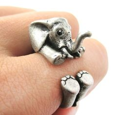 3D Baby Elephant Animal Wrap Around Ring in Silver | Size 5 to 8.5 · DOTOLY · The Animal Wrap Rings and Jewelry Store